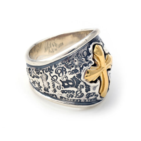 "Graffiti Dome Ring with ""CROSS"" Top"