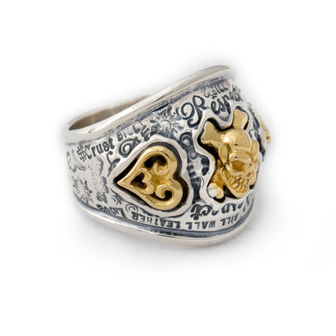 "Graffiti Dome Ring with ""SKULL & CROSSBONES"" Top ""HEART & $"" Tag"