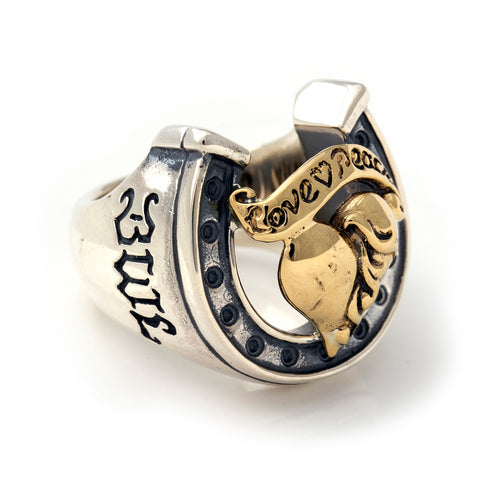 "Horseshoe Ring ""HEART with BANNER"" Top - Large"