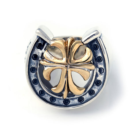 "Horseshoe Ring with ""GOTHIC CROSS"" Top - Large"
