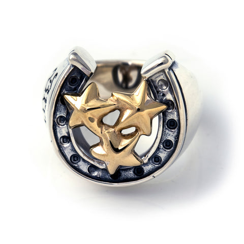 "Horseshoe Ring with ""TRIPLE STAR"" Top - Large"
