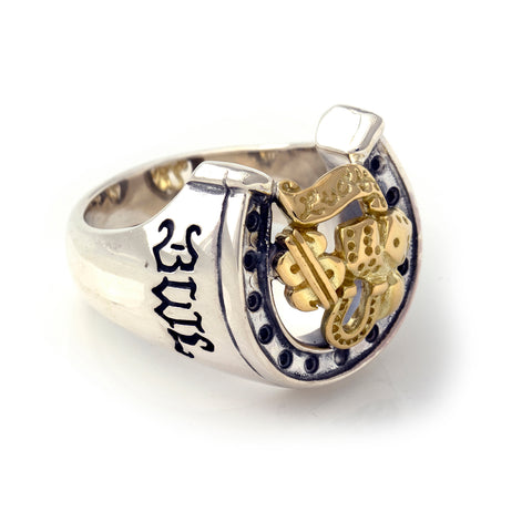 "Horseshoe Ring with ""LUCKY"" Top - Large"