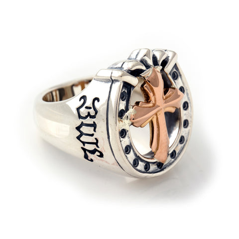 "Horseshoe Ring with ""CROSS"" Top - Large"