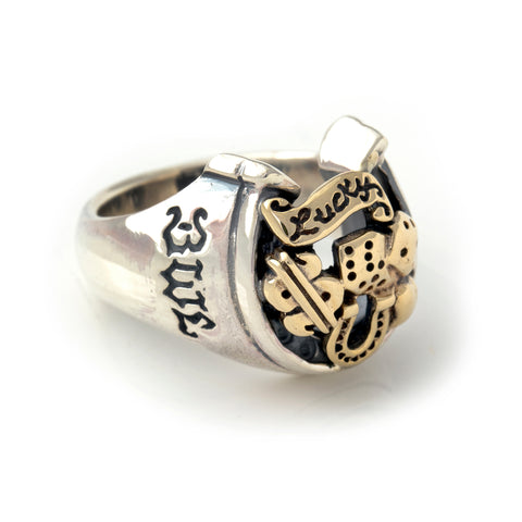 "Horseshoe Ring with ""LUCKY"" Top - Medium"