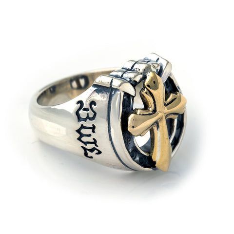 "Horseshoe Ring with ""CROSS"" Top - Medium"