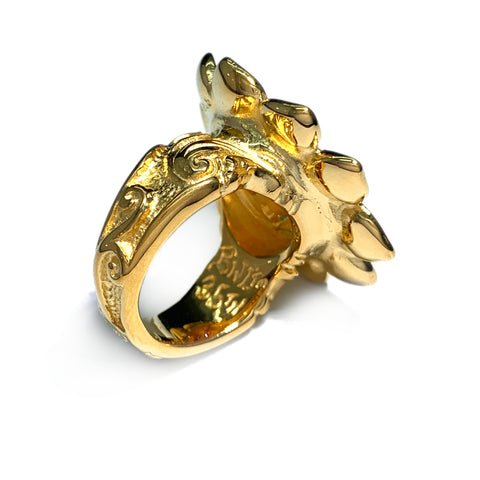 Custom 18k Plated Sunflower Happy Face Ring Size 7