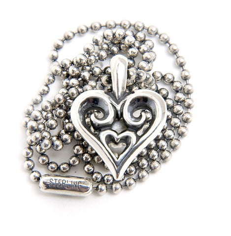 Tribal Heart Charm with 2mm Ball Chain