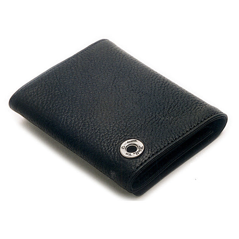 Triple Fold Wallet in Flat Black Leather