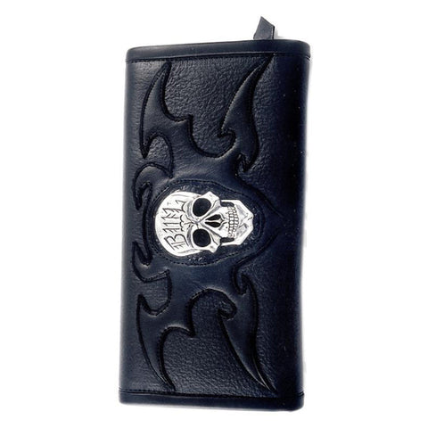 Wallet with Skull Inlay and Tribal Emboss