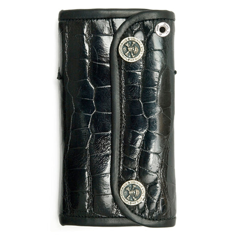 BWL Crown on Black Gator Wallet