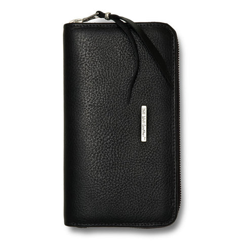 Large Zipper Wallet in Imported Black Leather