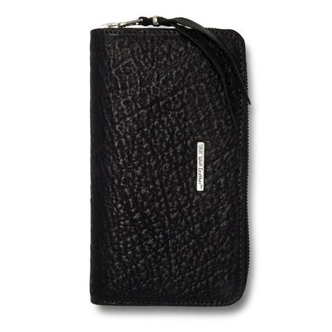 Large Zipper Wallet in black Shark Leather