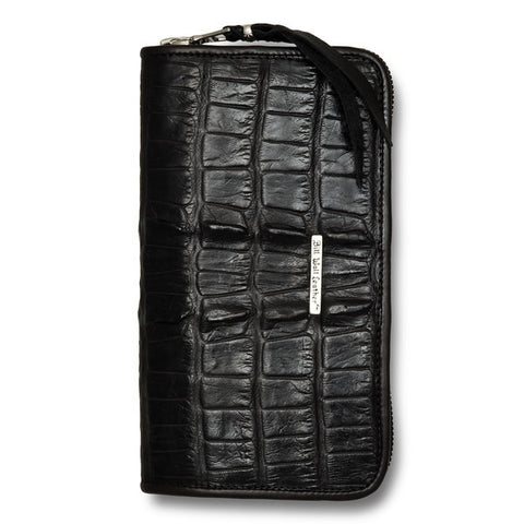 Large Zipper Wallet in Black Alligator Tail Leather