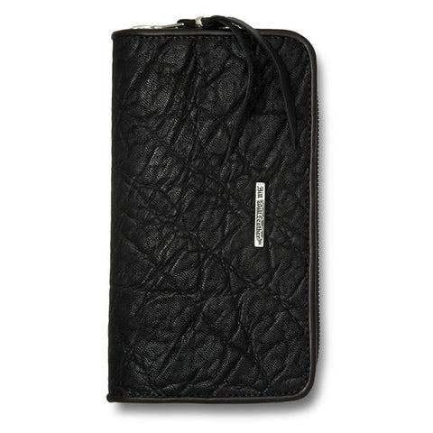 Large Zipper Wallet in Black Elephant Leather