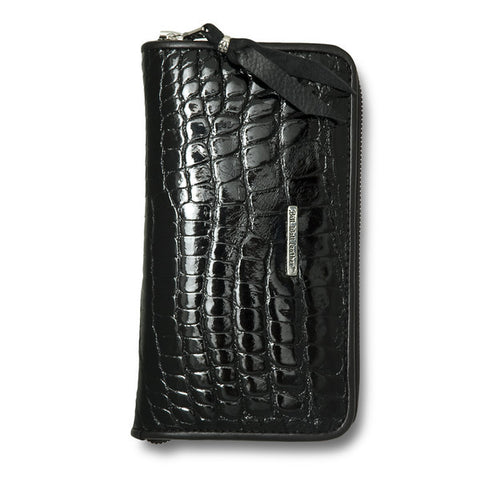 Large Zipper Wallet in Shiny Alligator Leather