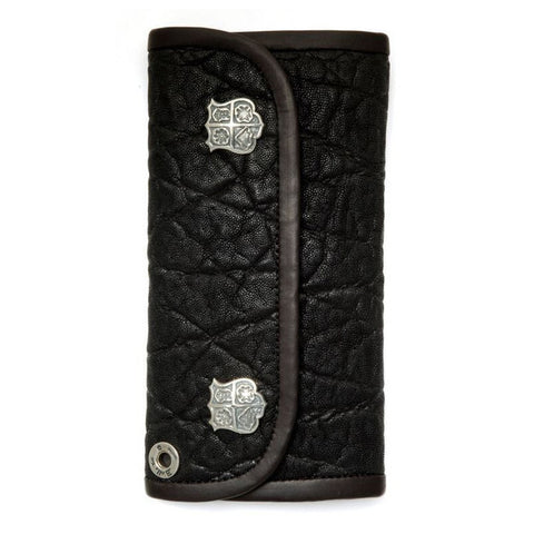 Large Currency Wallet in black Elephant Leather