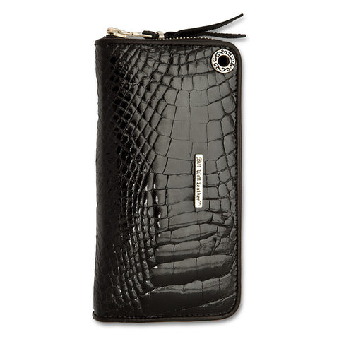 Medium Zipper Wallet in Black Shiny Alligator Leather