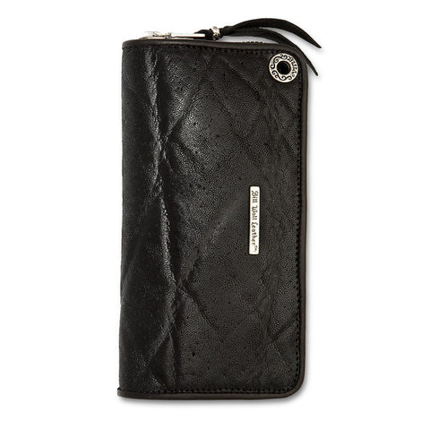 Medium Zipper Wallet in black Elephant Leather