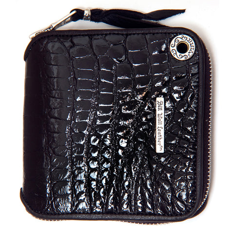 Square Zipper Wallet in Shiny  Alligator