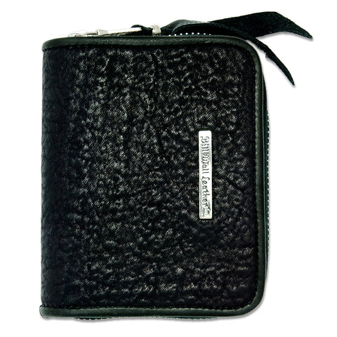 Small Coin Zip Wallet in Shark Leather