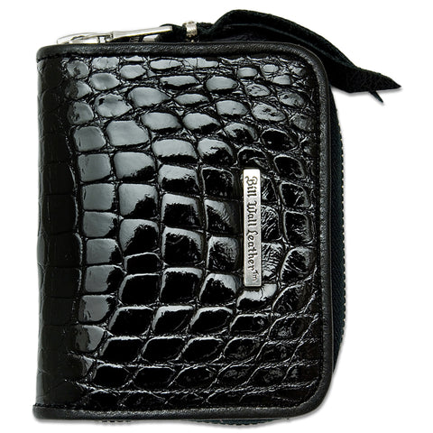 Small Coin Zip Wallet in Shiny Alligator Leather