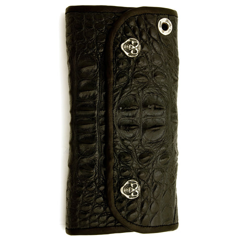 Hybrid Wallet for Large Currency in Hornback Alligator Leather