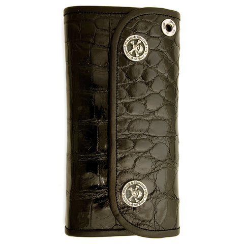 Hybrid Wallet for Large Currency in Shiny Alligator Leather