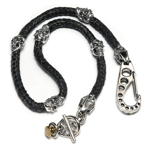 Leather Braided Wallet Chain with Skull Beads