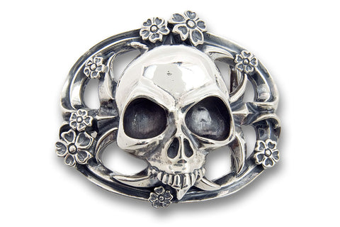 Skull with Cherry Blossom Belt Buckle