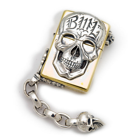 Brass Lighter with BWL Skull, Chain Link and V.S. Corner