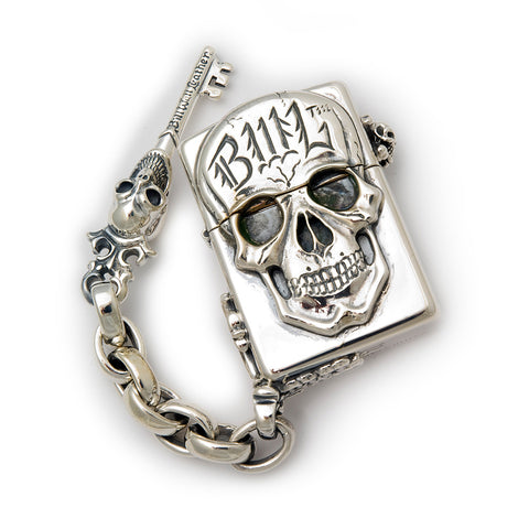 Silver Lighter BWL Skull with Chain Link and V.S. Key Corner