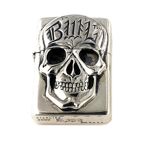 Silver Lighter with Skull