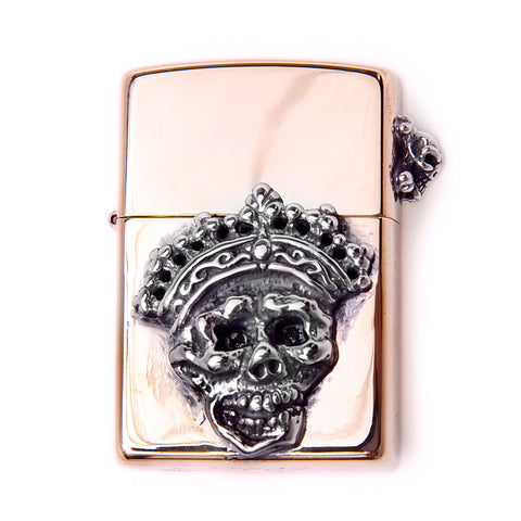 Brass Lighter Skull with Crown