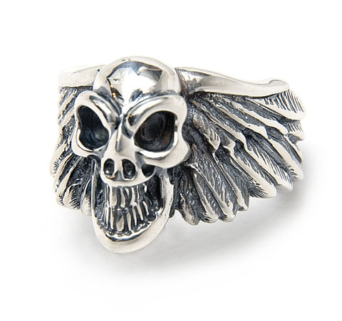Wing with Good Luck Skull Ring