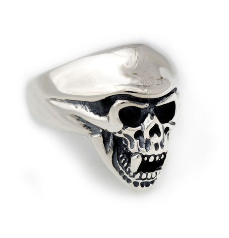 Helmet Skull with Fangs Ring