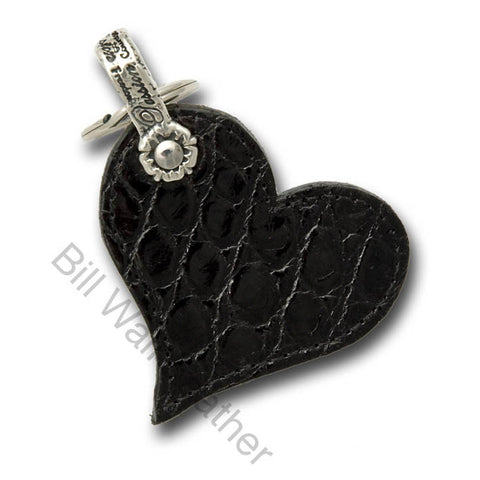 Shiny Alligator Leather Heart Shaped Key Chain