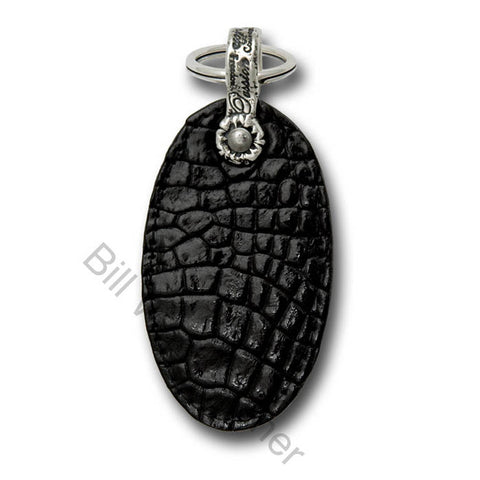 Shiny Alligator Leather Oval Shaped Key Chain
