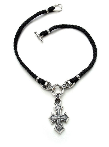"Musician's Necklace-Leather Braid with ""C"" Cross Crimps and Medallion"