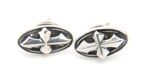Oval Cross Earrings