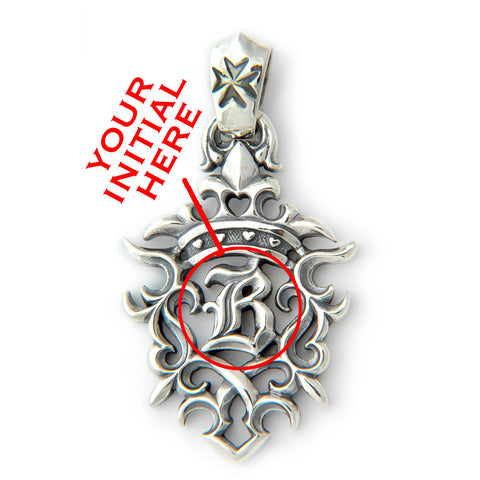 "30th Anniversary XL ""B""-Crown with Tribal Pendant and Your Initial"
