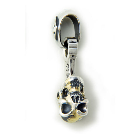 "30th Anniversary ""Bill's Way"" Piston Pendant with Skull, Gold Web and Gemstone Eyes"