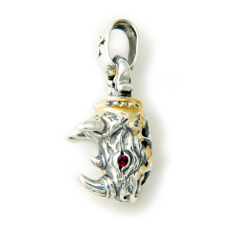 30th Anniversary Bill Wall Rhino with Gold Overlay and Gemstones Pendant