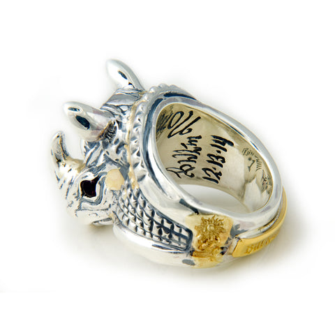 30th Anniversary Bill Wall Rhino Ring with Gold Overlay and Stone Eyes