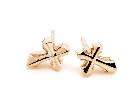 Cross Earrings 18k Gold