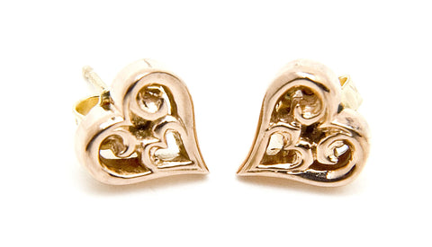 Tribal Heart Earrings 18k Gold