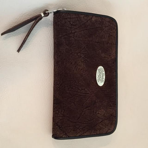 Large Zipper Wallet in Dark Brown Hippo Leather