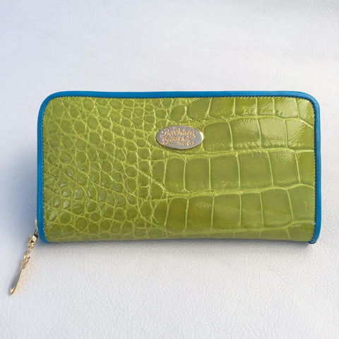 Large Zipper Wallet in Bright Lime Green Crocodile Leather