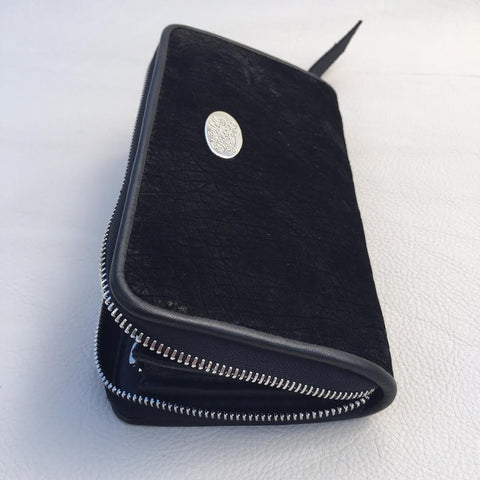 Large Zipper Wallet in Dark Black Hippo Leather