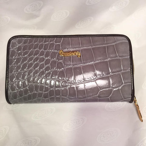 Large Zipper Wallet in Light Tan Crocodile Leather