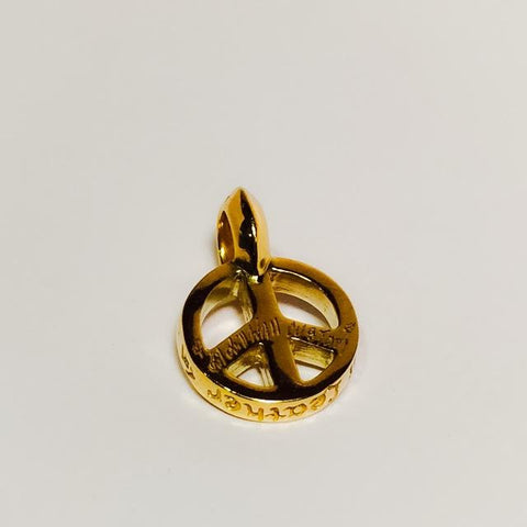 New Diamond Paved Gold Peace Sign Charm